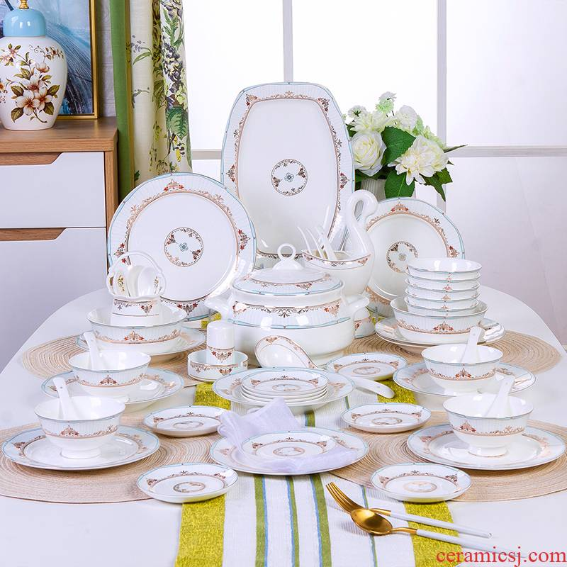 The Antarctic treasure dishes home European ipads porcelain tableware suit eating The food, eat Chinese bowl plate combination/