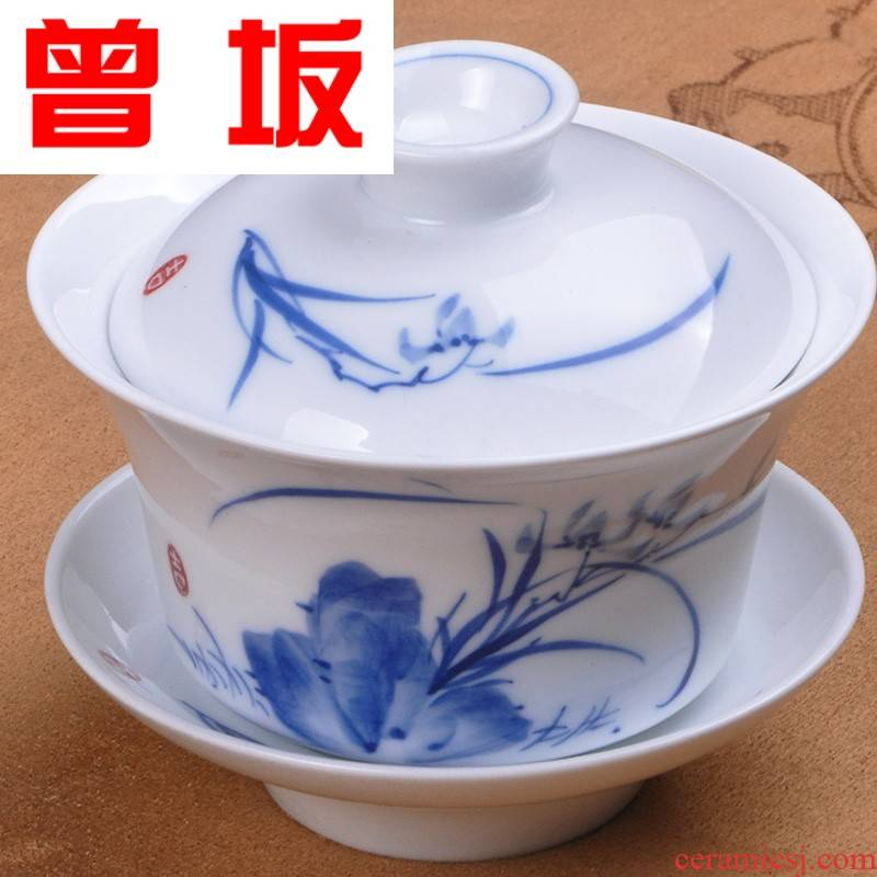 The Who -- town ceramics landscape tureen hand - made kung fu tea set of blue and white porcelain cup bowl nameplates tureen large detailed scene