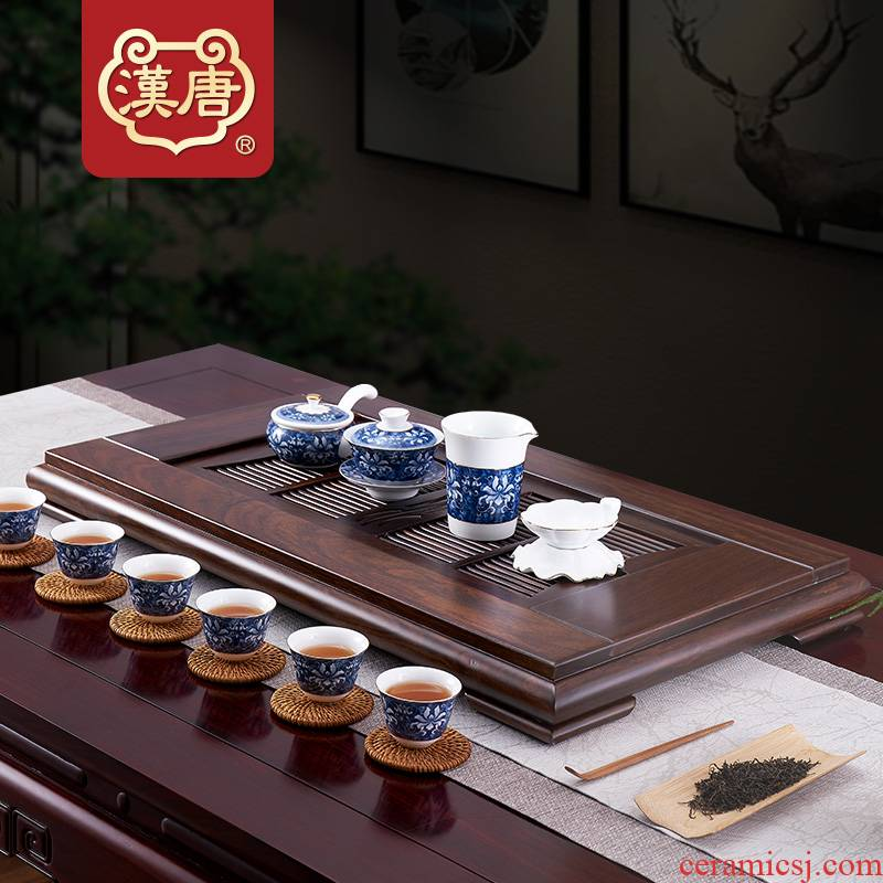 Han and tang dynasties large household contracted sitting room ground drainage type solid wood tea table embedded kung fu tea saucer wood
