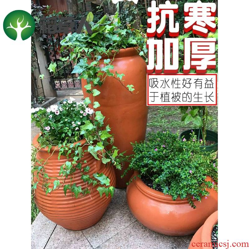 Pottery clay Chinese rose is especially big crock green plant coarse pot Chinese style new creative other household clearance
