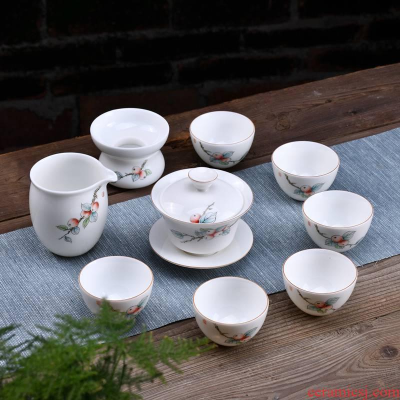 Xu ink handpainted suet jade dehua white porcelain kung fu tea set a complete set of domestic three tureen ceramic cups