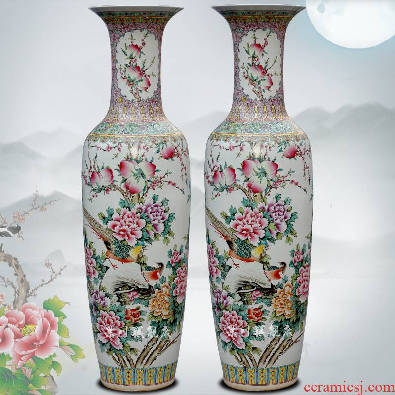 Jingdezhen ceramic hand - made pastel notes tong prosperous big vase sitting room be born flower arranging the study Chinese style household furnishing articles