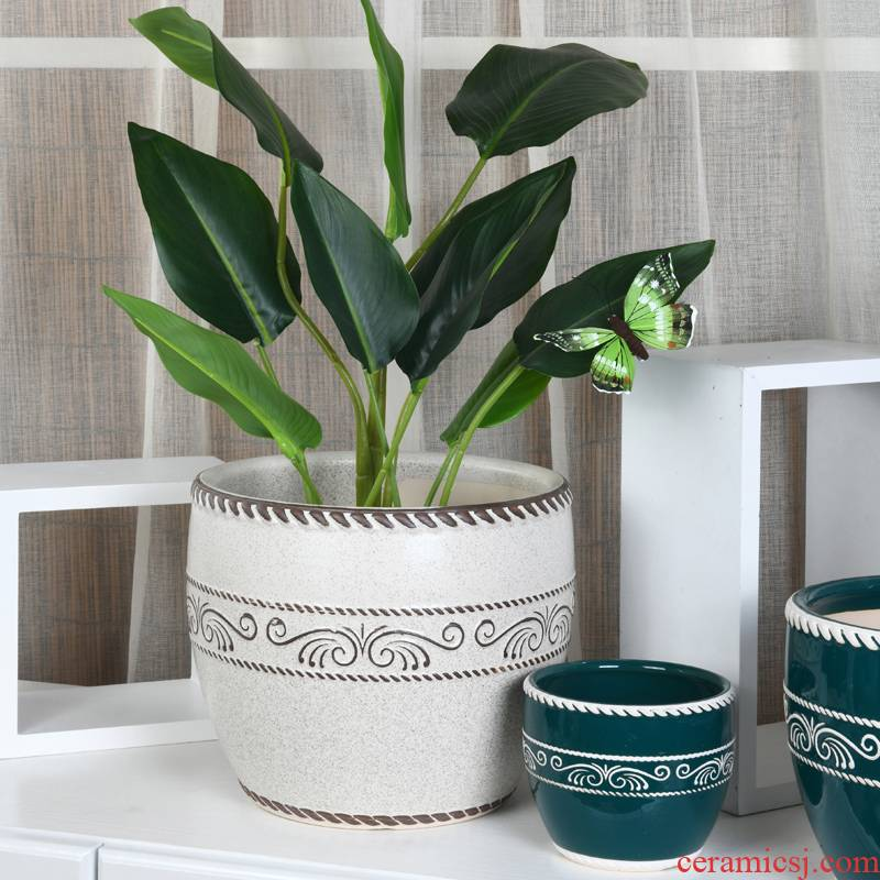 Ceramic large wholesale flower POTS clearance creative butterfly orchid green plant contracted sitting room balcony, fleshy flowerpot pack mail