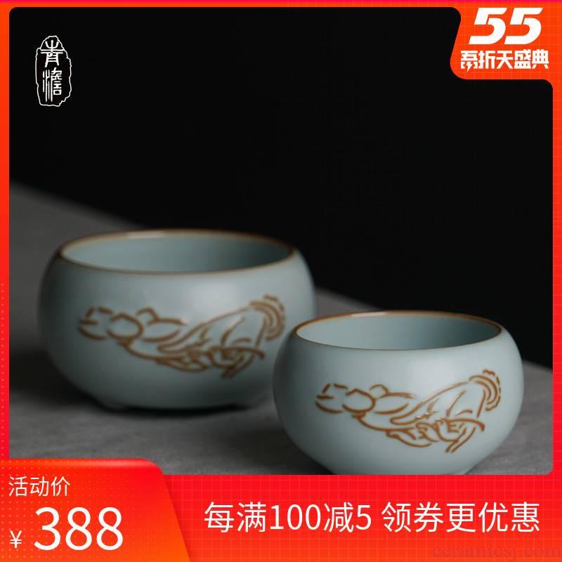 Green has already ru up market metrix cups sliced open can raise jingdezhen porcelain tea tea tea cups ceramic bowl celadon