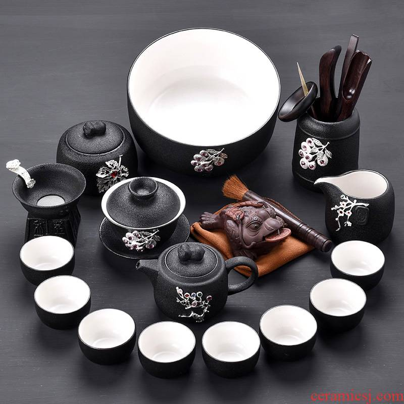 Tao blessing coppering. As the silver tea set of black suit household kunfu tea tea kettle black zen cup combination