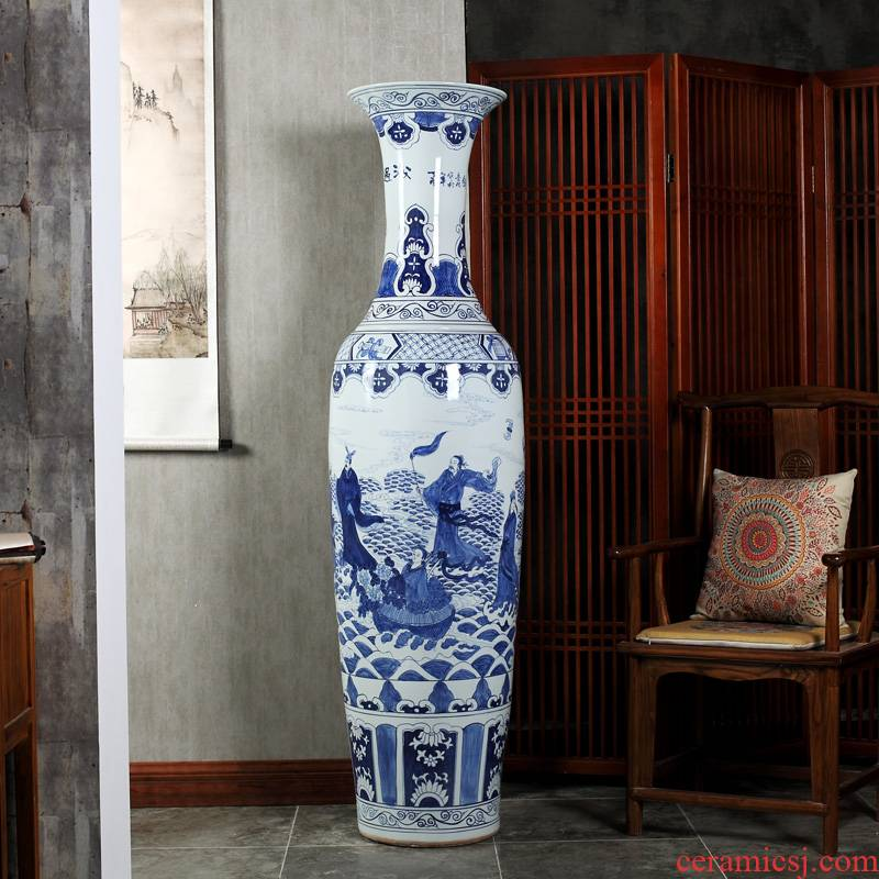 Jingdezhen ceramics super - large hand - made hotel opening gifts sitting room adornment is placed large blue and white porcelain vase