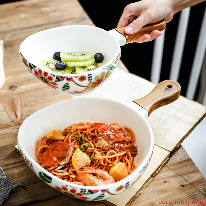 Nordic recent glaze with handle ceramic western - style food bowl of spaghetti bowl dessert bowl household creative fruit bowl