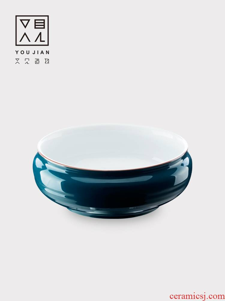 Ceramic tea to wash a cup of hot wash large wash bowl is small bucket contracted dry tea sea kung fu tea water jar writing brush washer