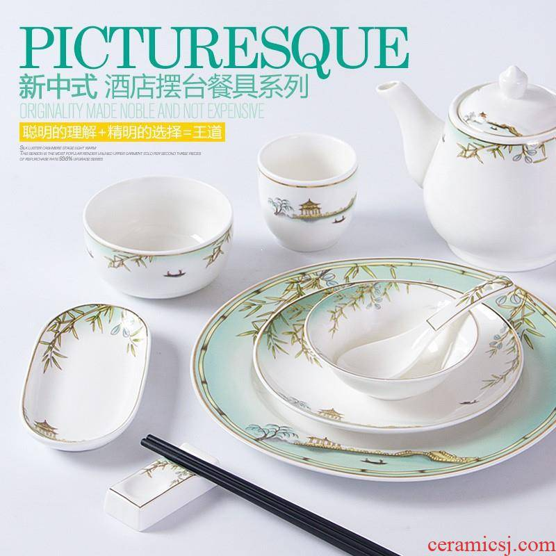 Impression west lake hotel restaurant dinner table set hotel catering supplies ceramic dishes spoons tableware portfolio