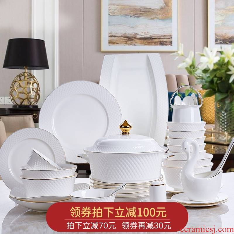 Orange leaf ipads porcelain tableware dishes suit household European - style Chinese dishes combine time brocade jingdezhen ceramics