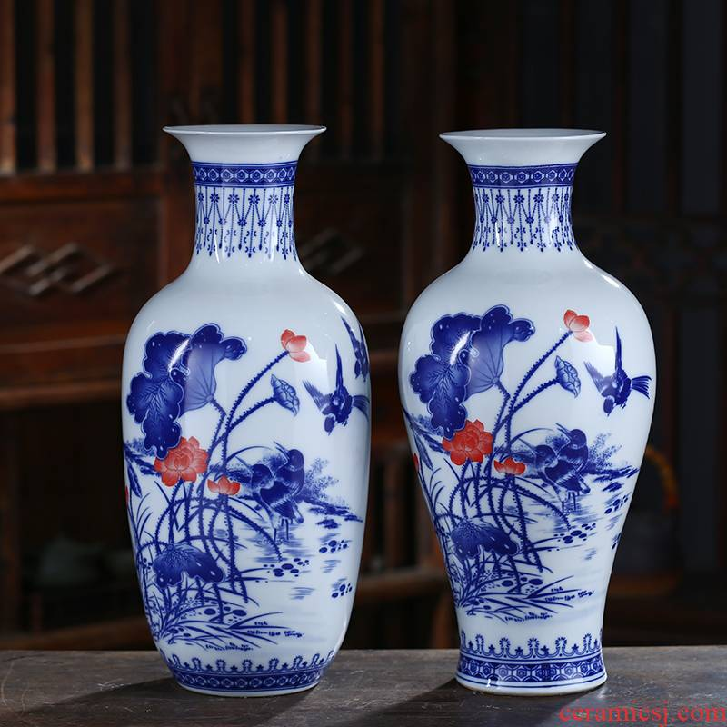 New Chinese style living room blue and white porcelain of jingdezhen ceramics vase furnishing articles dried flowers flower arrangement home rich ancient frame adornment