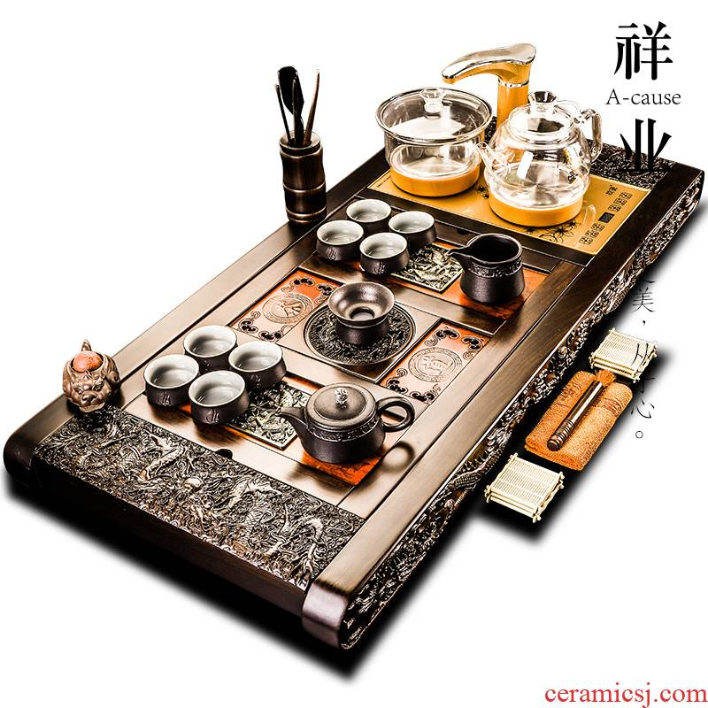 Auspicious industry ebony wood, purple sand tea tray was kung fu tea set the whole household automatic kettle 1 meter longer version