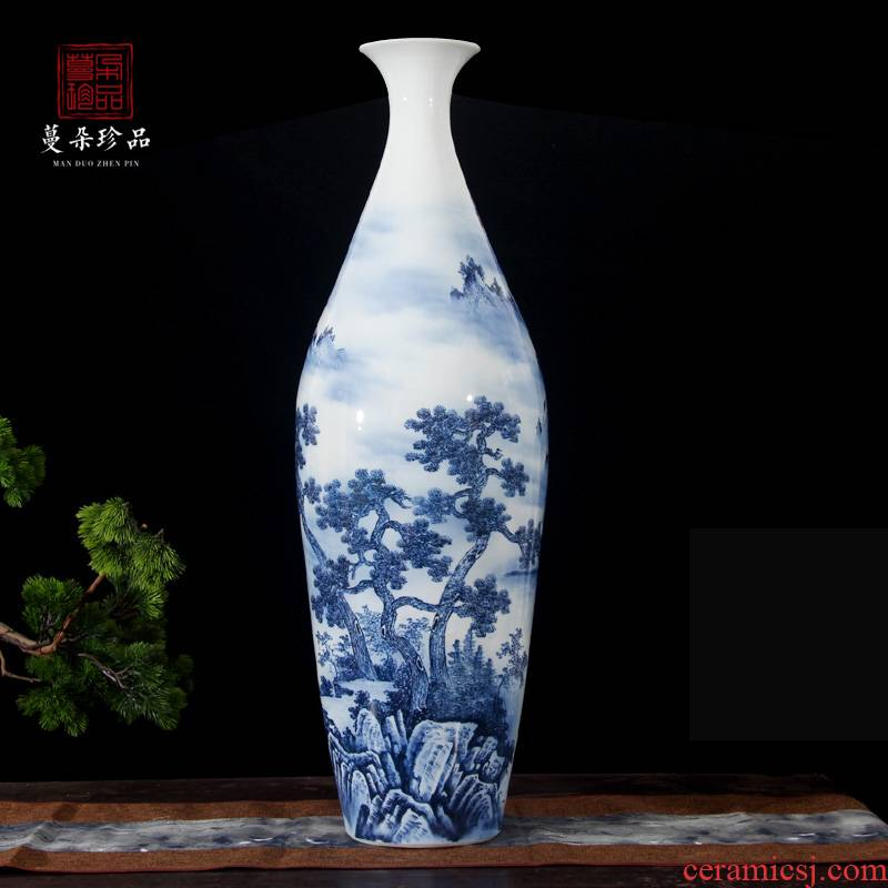 Jingdezhen blue and white landscape olive hand - made vases, 80-90 cm tall hand - made scenery belly diameter 25 or so