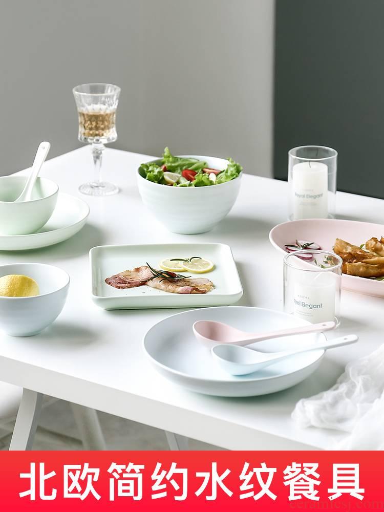 E best la ceramic tableware household eat four dishes rice bowls plates creative spoon noodles in soup bowl chopsticks