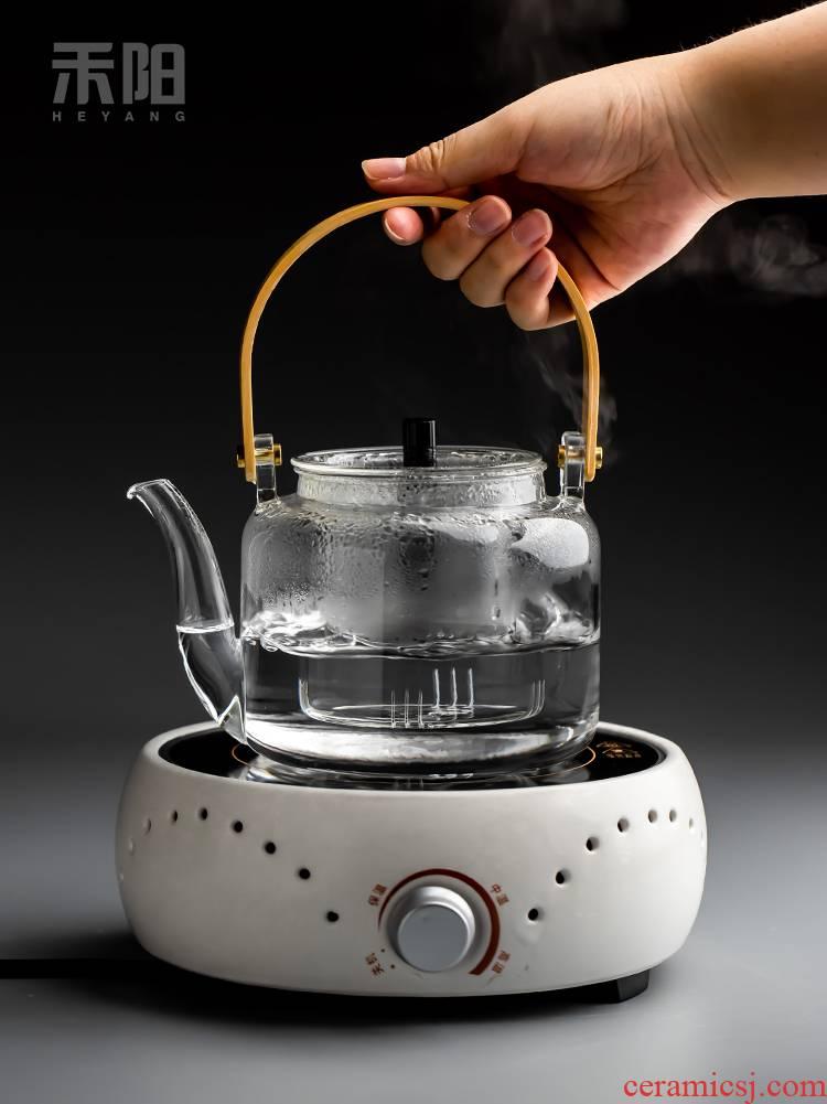 Send Yang steaming kettle heating TaoLu filter glass teapot Japanese flower pot boil tea ware girder are home