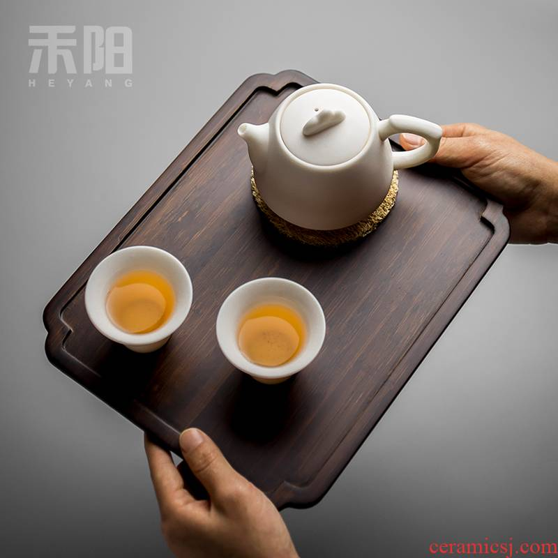 Send Yang bamboo tea tray with large tea in plate of small simple rectangular solid wood tea tray was dry tea mercifully