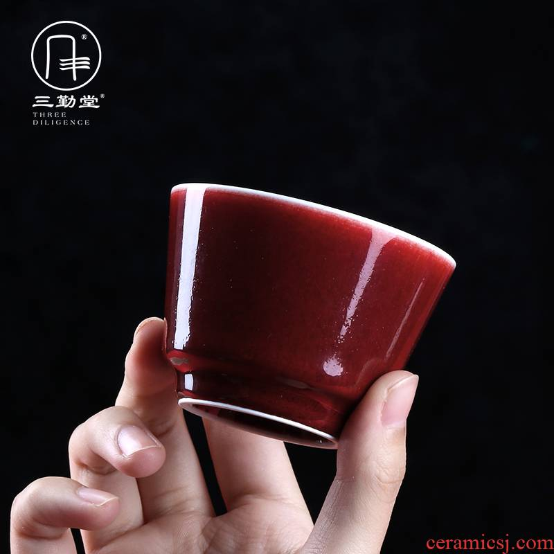 The three regular ruby red kung fu tea master of jingdezhen ceramic sample tea cup all hand small single CPU S41092