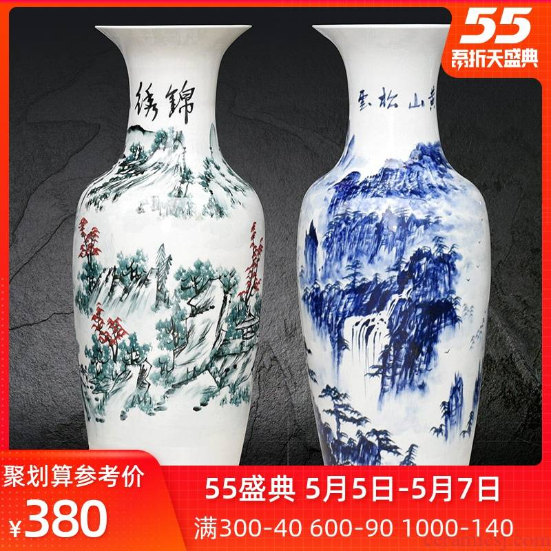 Hand - made scenery landing a large vase of blue and white porcelain of jingdezhen ceramics high home furnishing articles furnishing articles sitting room hotel