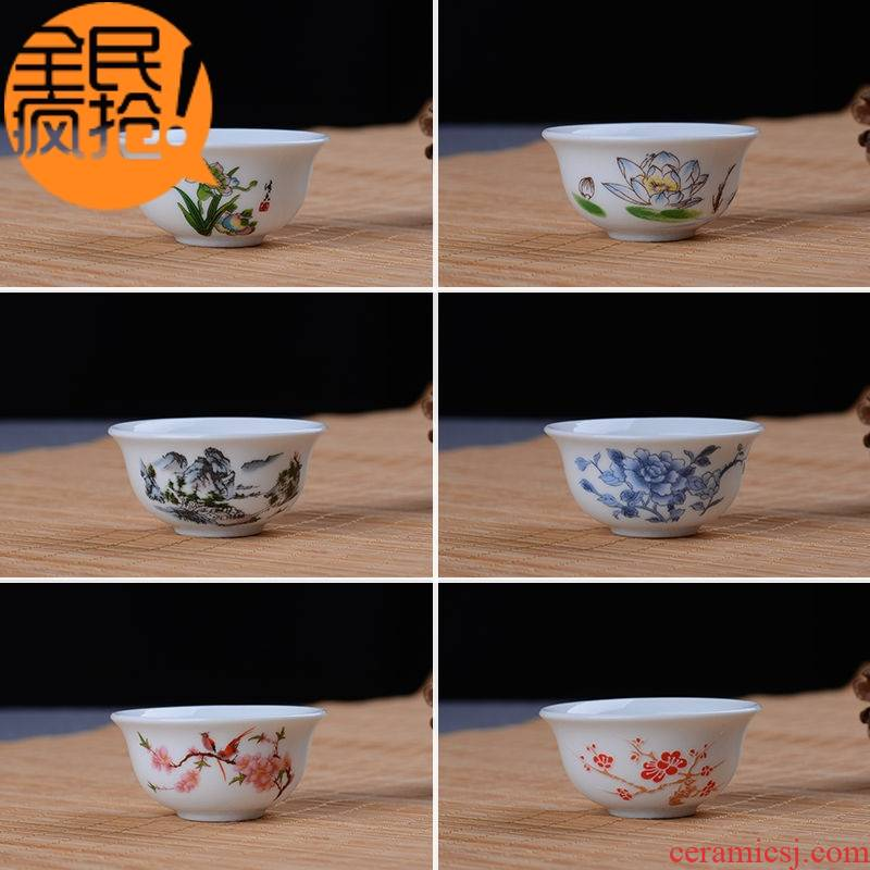 Hui shi ceramic cups kung fu noggin suit household use sample tea cup masters cup six porcelain tea set
