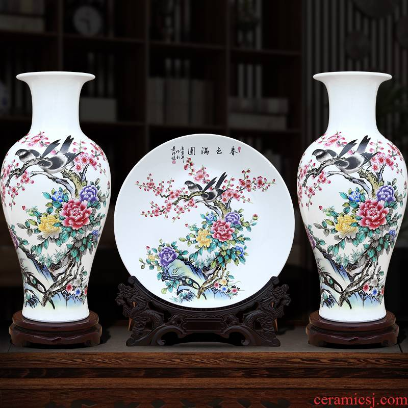 Jingdezhen ceramics three - piece furnishing articles of handicraft sitting room adornment porch curio cabinet TV ark cabinet flower arranging
