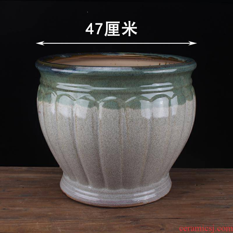 Creative classical plant trees large caliber flowerpot ceramic large extra large ground round tray was big cylinder clearance