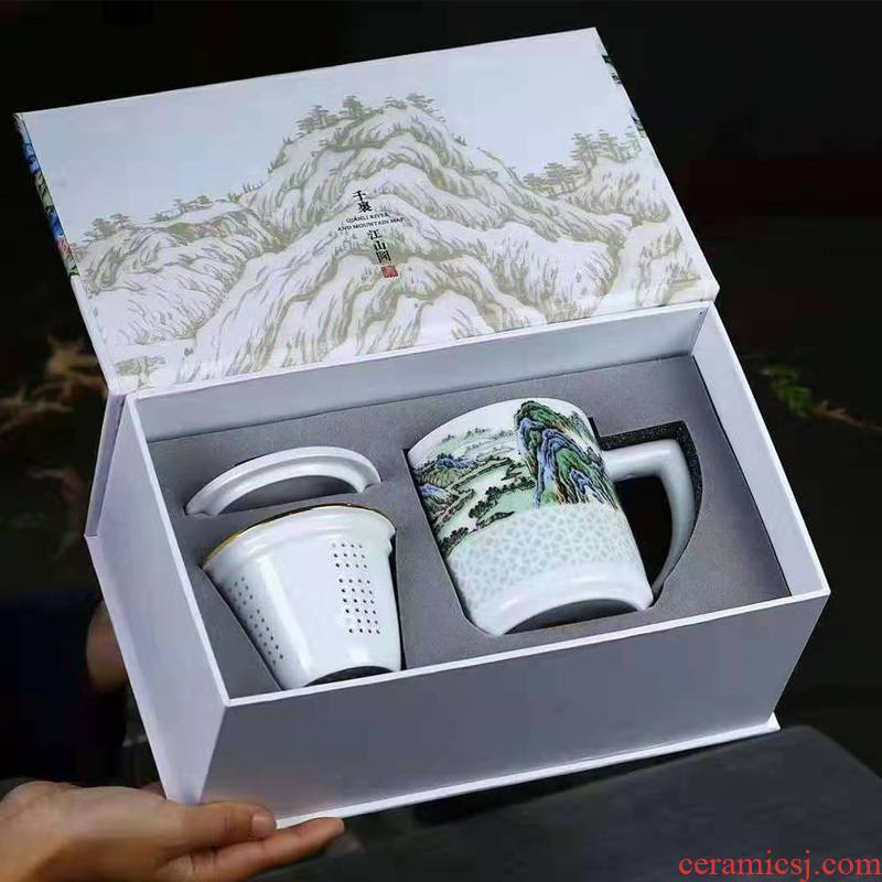 Jingdezhen blue and white big gift separation and exquisite tea cup white ceramic capacity with cover the office hand - made of elders