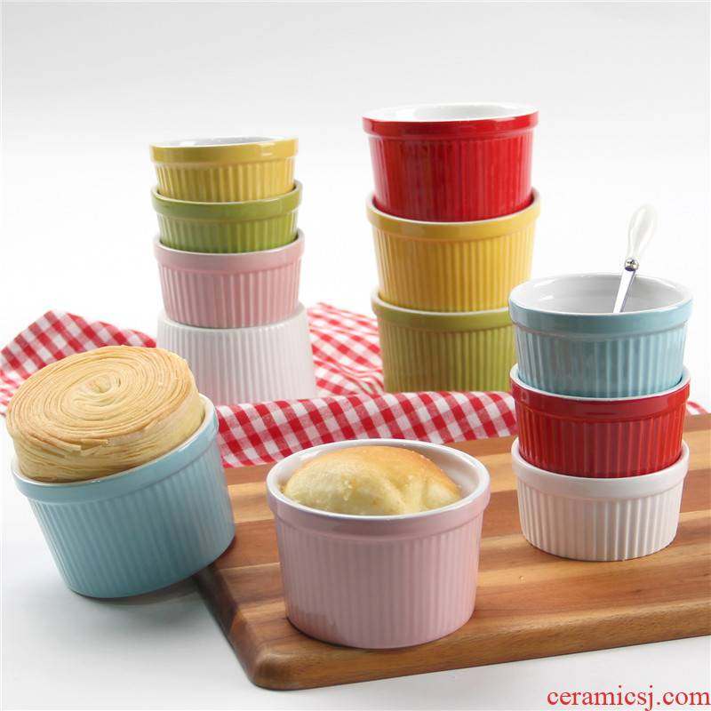 """4 """"small household microwave oven bake cake mould single ceramic cake cup shu she baked in a bowl"""