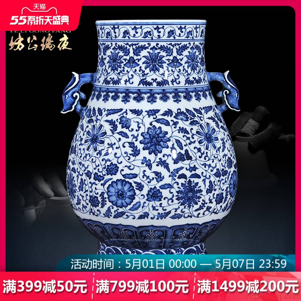 Jingdezhen ceramics vase of blue and white porcelain imitation the qing qianlong ears dragon statute of new Chinese style living room decoration