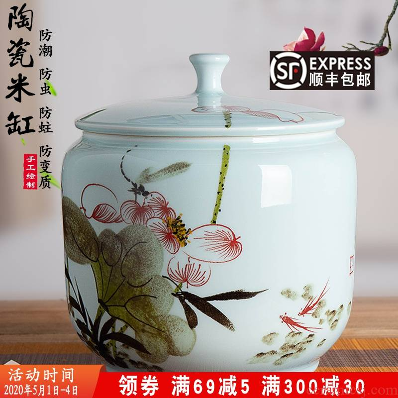 Jingdezhen hand - made ceramic barrel ricer box 20 jins the loaded with cover moistureproof insect - resistant flour barrels household seal pot in the kitchen