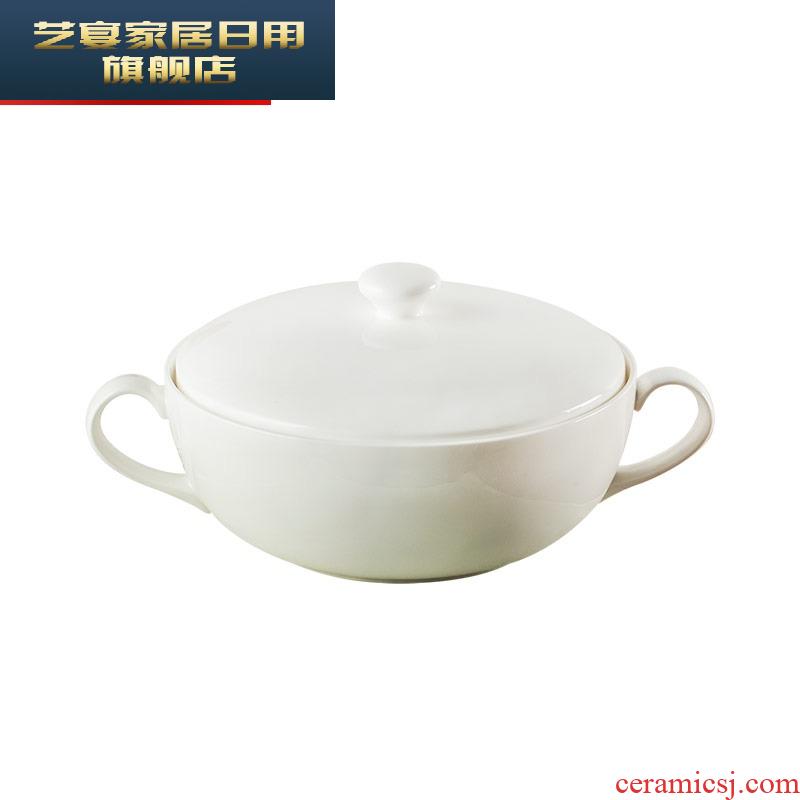 Creative ipads porcelain ears with cover large soup bowl Italian soup basin home la rainbow such as bowl jingdezhen white pot