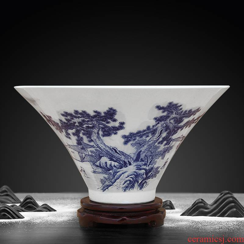 Furnishing articles blue and white porcelain of jingdezhen ceramics decorated bowl hat to use big rainbow such to use web celebrity trill since the media items to use