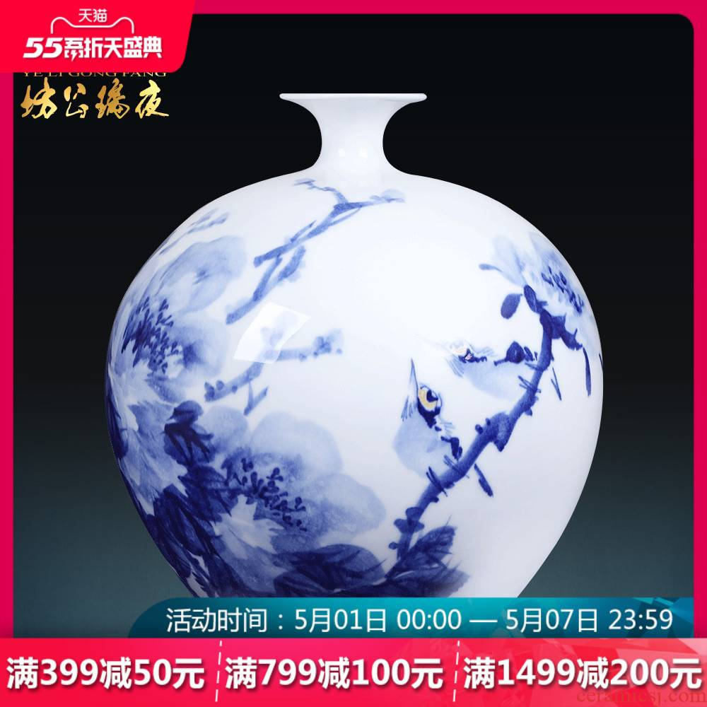 Jingdezhen ceramics furnishing articles hand - made peony vase of blue and white porcelain decoration of new Chinese style household study process