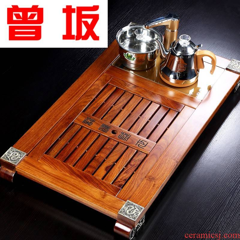 The Who -- tea set induction cooker four one solid wood tea tray was hua limu household of Chinese style modern drainage tea set