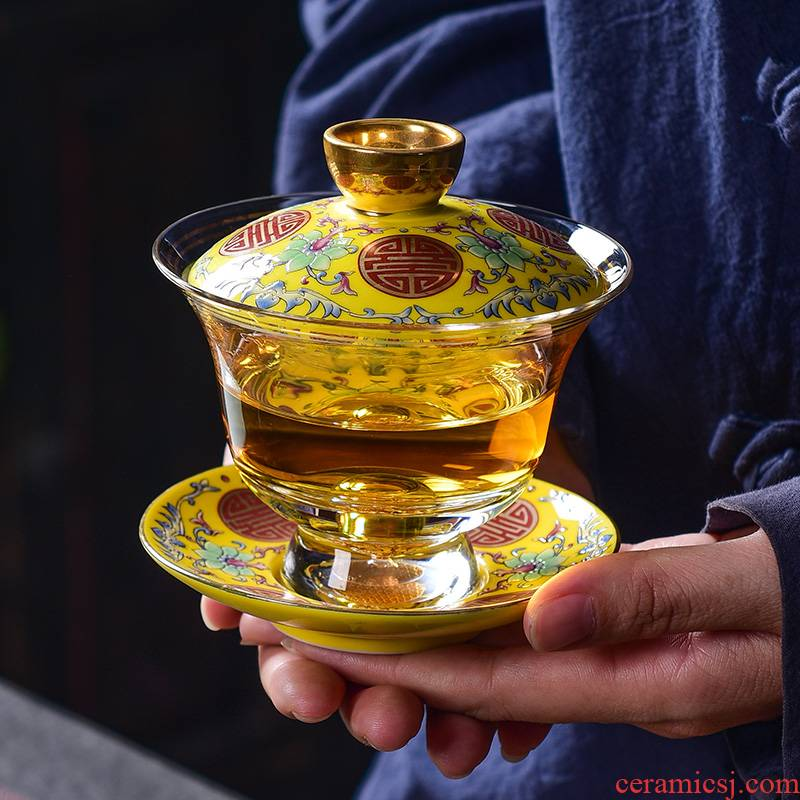 Tao blessing glass enamel made tureen large three tea bowl to bowl tea cup saucer kung fu tea set