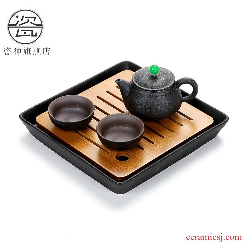 Black pottery porcelain god zen crack cup a teapot two cups of two cups of Japanese portable travel kung fu ceramic tea set