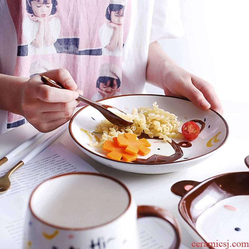 Jingdezhen express animals creative ceramic tableware children cartoon baby food bowl bowl bowl dish breakfast tray