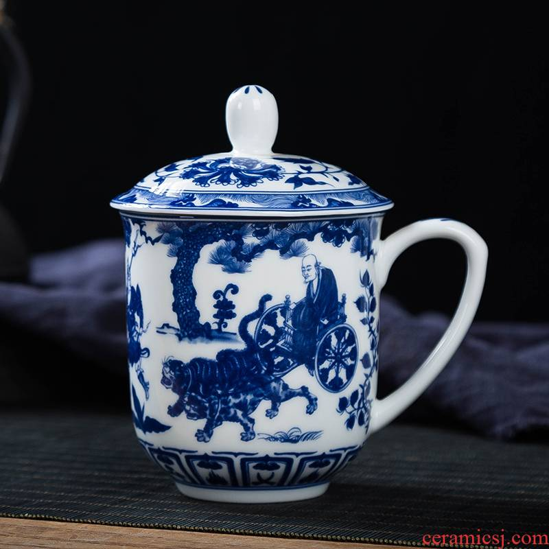 Jingdezhen blue and white porcelain retro household ceramic keller cups with cover glass office personal tea cups