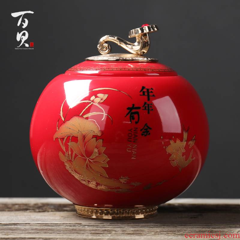 Chinese red porcelain tea pot large tin POTS tea urn, green tea, black tea to wake receives stored sealed as cans