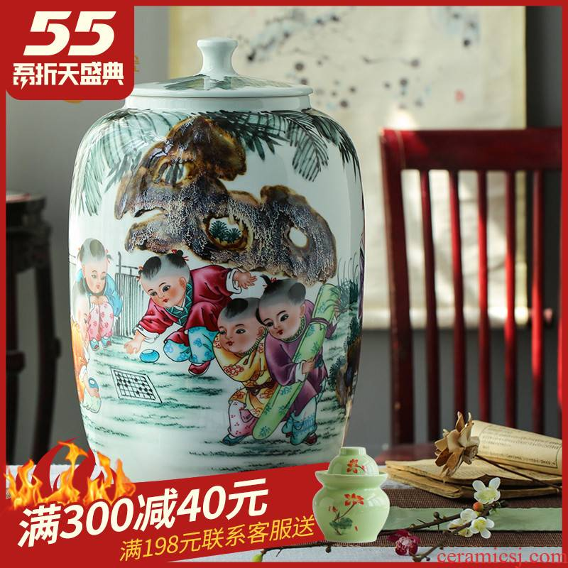 Hand - made jingdezhen ceramic barrel ricer 40 kg box pack household moistureproof tea urn cylinder oil tank of water meters storage jar with cover