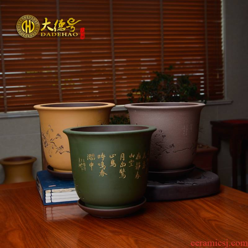 Clivia flower pot batter carved by hand made with tray bluegrass bracketplant, green potted yixing purple sand flowerpot