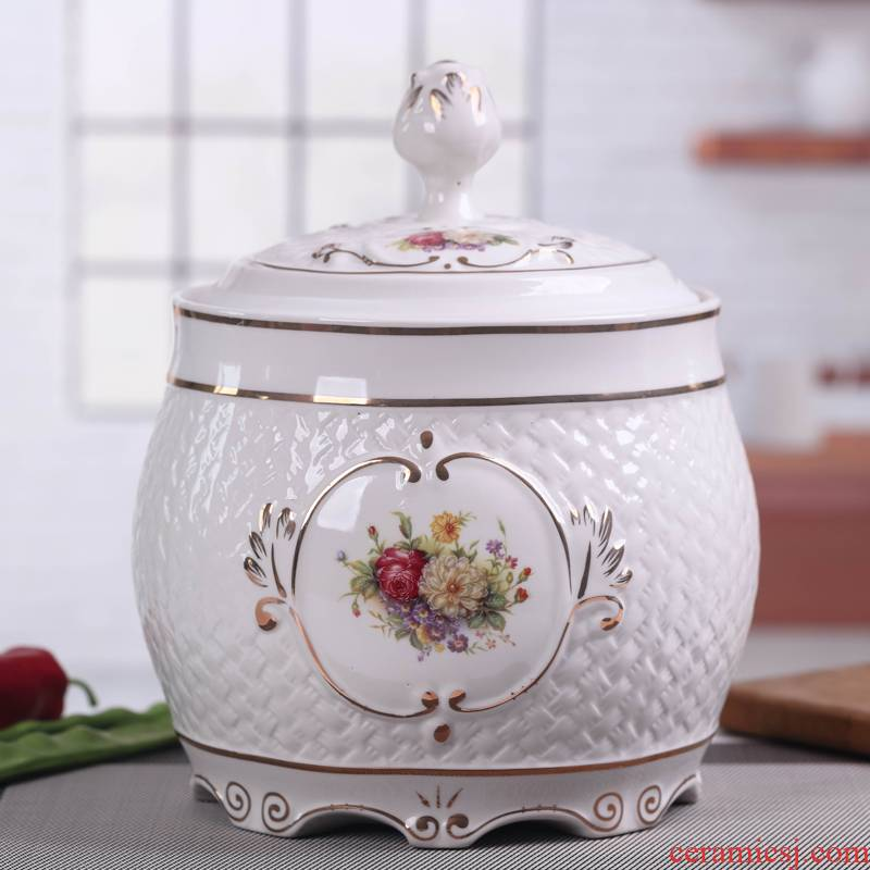 Jingdezhen ceramic barrel ricer box and multi - functional with cover household insect moistureproof and large capacity storage cylinder seal