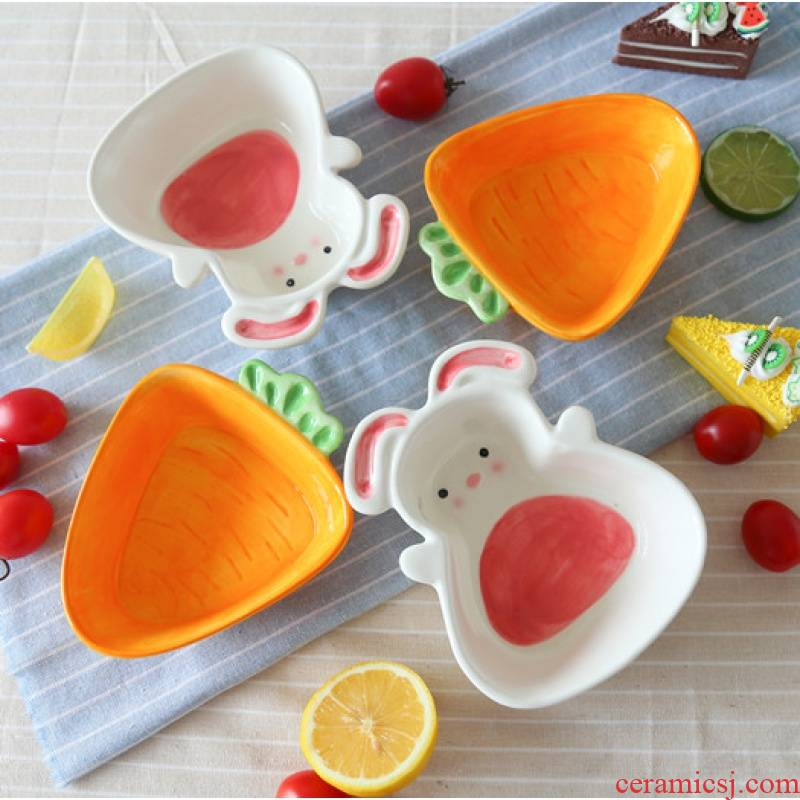 Jingdezhen express cartoon rabbit turnip ceramic bowl of snack fruit bowl dessert bowl bowl of the little white rabbit