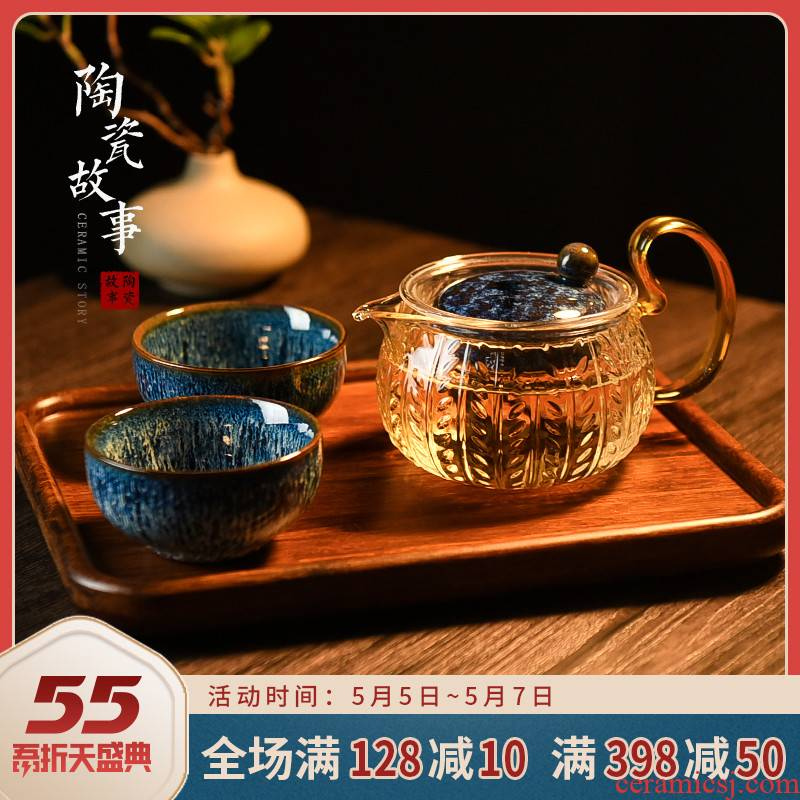 Ceramic story glass teapot single pot of filtration to hold to high temperature flower pot black tea tea sets tea cup home