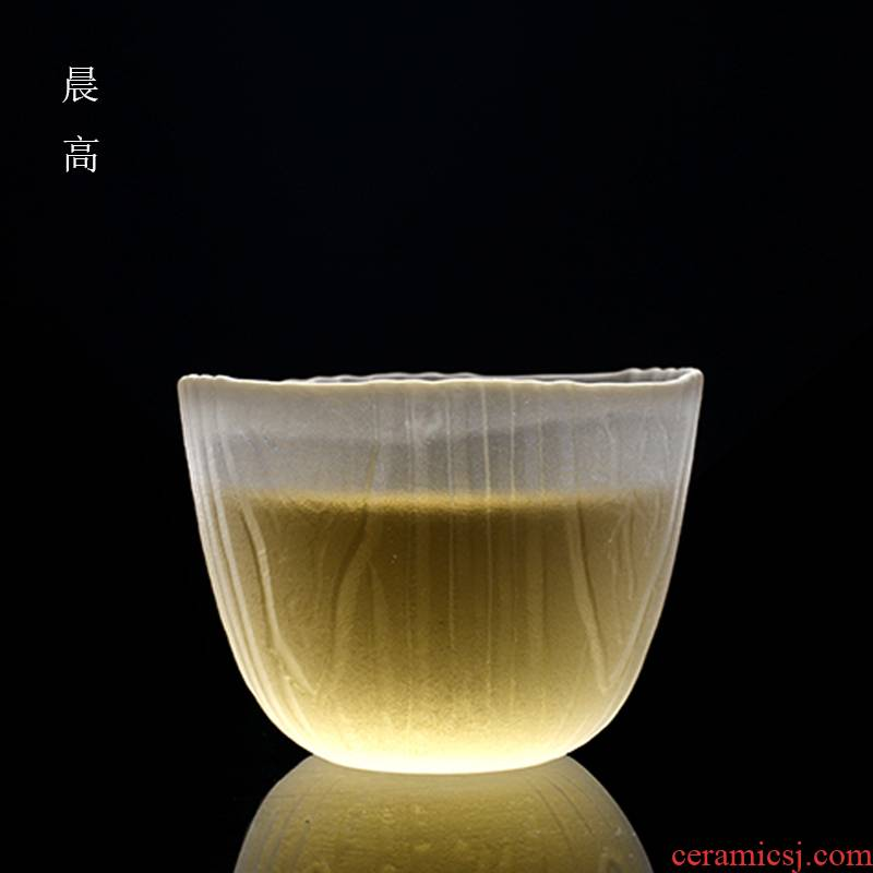 Morning high glass cup to use Japanese manual sample tea cup kung fu masters cup individual cup tea cup