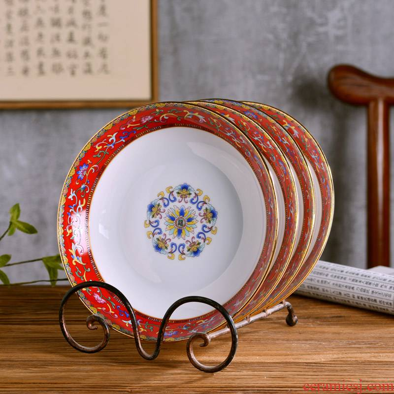 "8 ""jingdezhen ceramic bowl dishes of Chinese style household ipads porcelain tableware deep new rice soup plate antique plate"