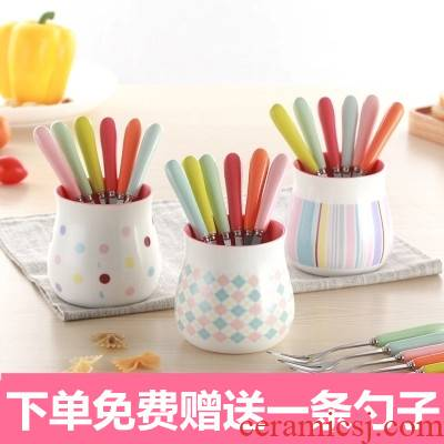 Tong baiyi creative lovely fruit fork ceramic color stainless steel tridentate dessert fork suits for dessert fork