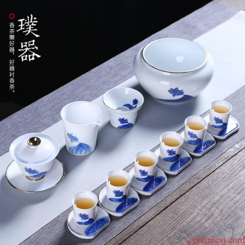 Blue and white porcelain tea set ceramic kung fu tea tea cup lid bowl tea to wash the tea taking of a complete set of accessories