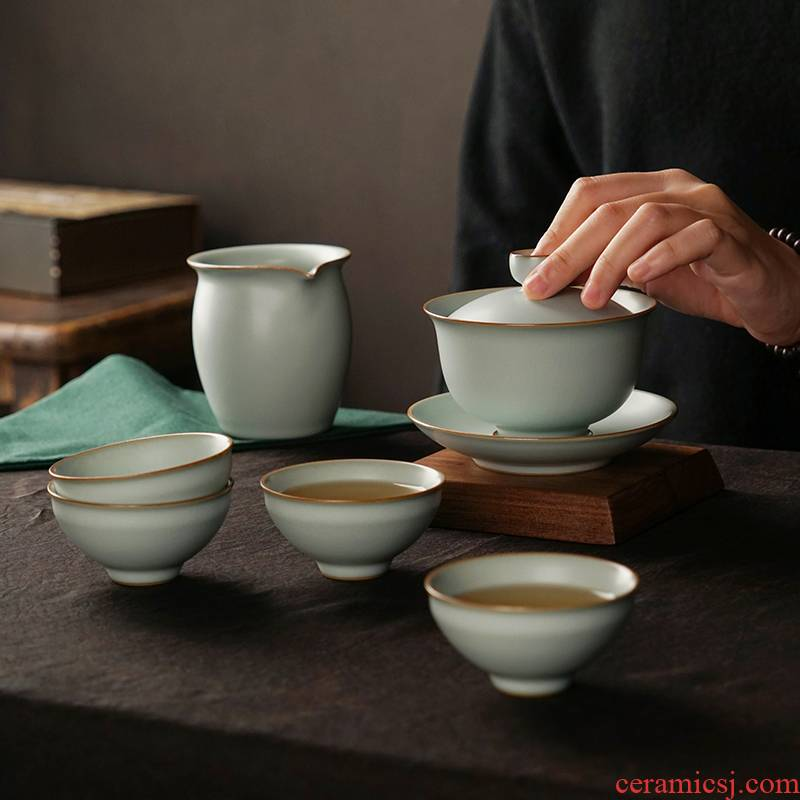 Jingdezhen kung fu tea set suits for your up household gift boxes manual ceramic three tureen small Chinese set of cups