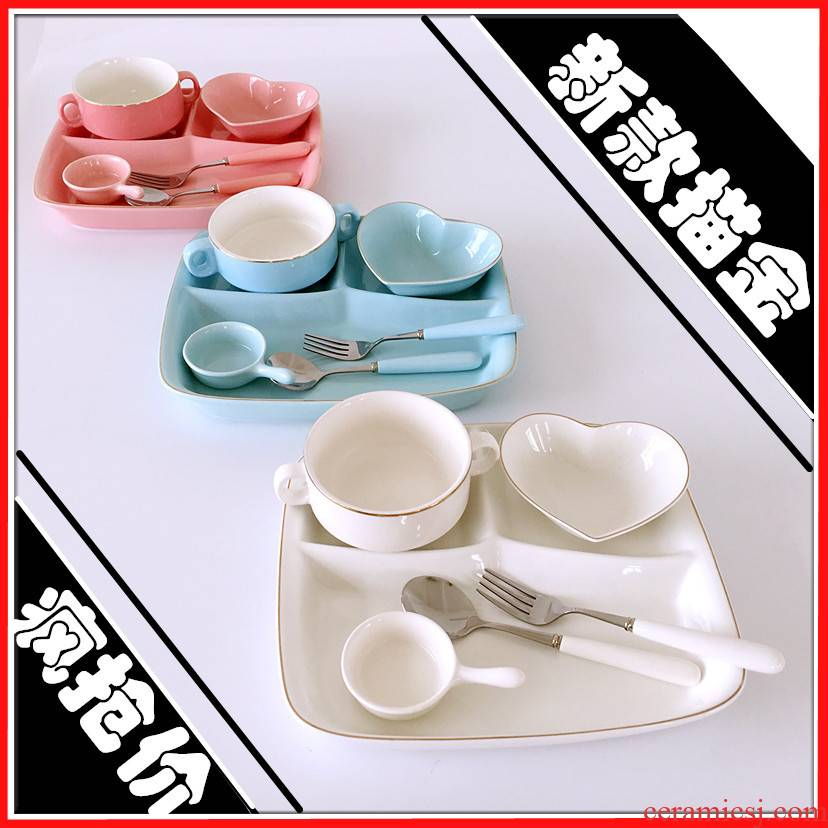 Ceramic frame plates children tableware breakfast tray sets students FanPan home three separate plate of western - style food plate