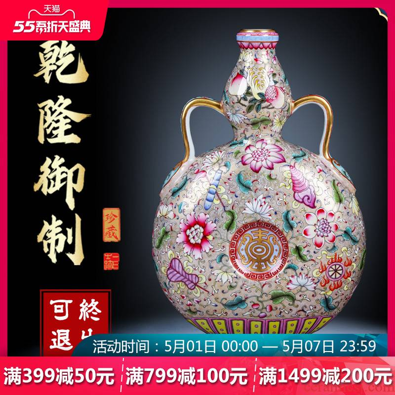 Night glass and fang jingdezhen hand - made archaize ceramic vase colored enamel paint on bottles of Chinese style adornment furnishing articles